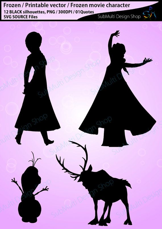 Frozen Silhouette Svg Files Vector Eps Dxf Png Disney Coloring Sheets Disney Silhouettes Frozen Canvas