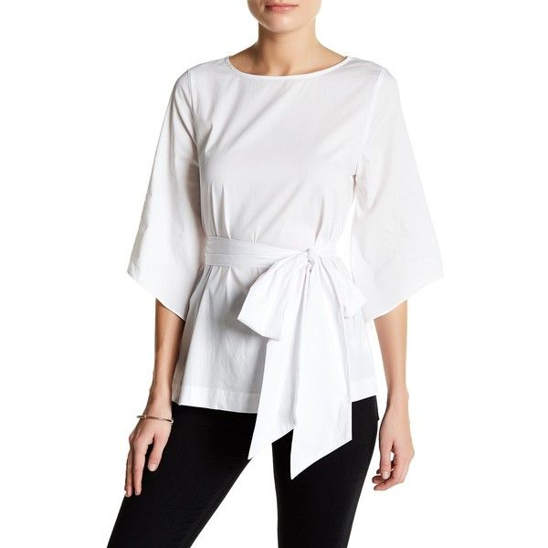 Bobeau Cotton Poplin Tee (Petite) ($30) ❤ liked on Polyvore featuring tops, t-shirts, petite, white, petite t shirts, white t shirt, long sleeve t shirts, petite tops and long white tee