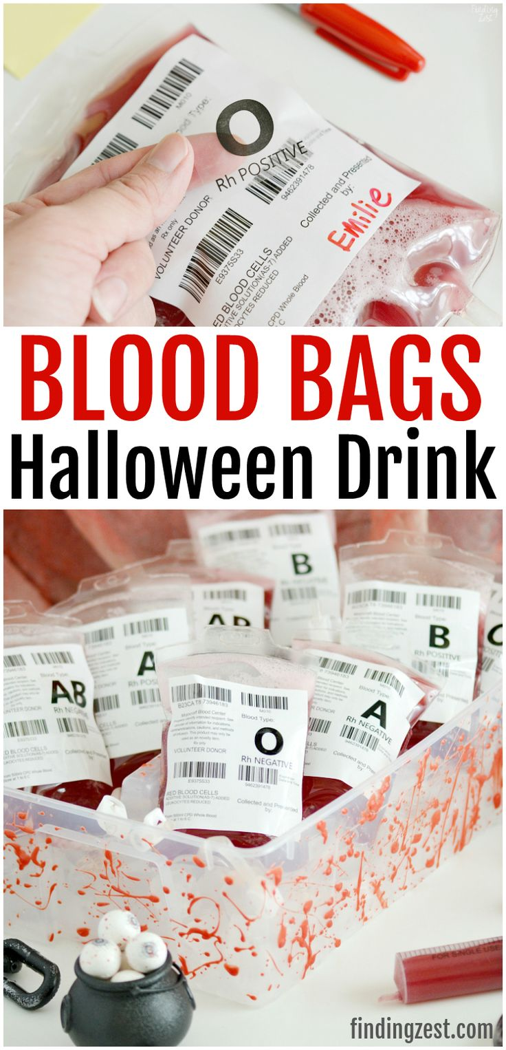 Entertain guests at your Halloween party with these fun blood bags! This red Hal…