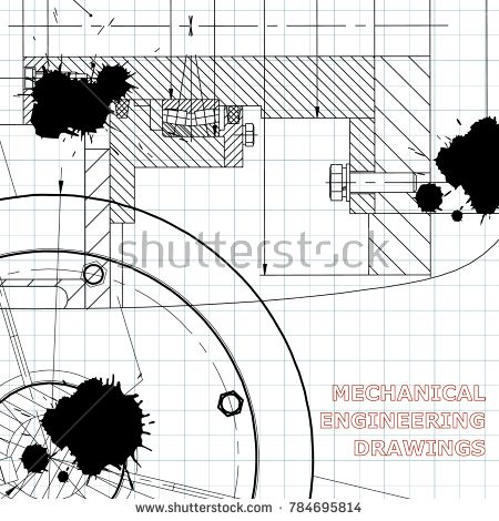 Backgrounds of engineering subjects. Technical illustration. Mechanical engineering. Technical design. Draft. Black Ink. Blots #bubushonok #art #bubushonokart #design #vector #shutterstock #technical #engineering #drawing #blueprint  #technology #mechanism #draw #industry #construction #cad