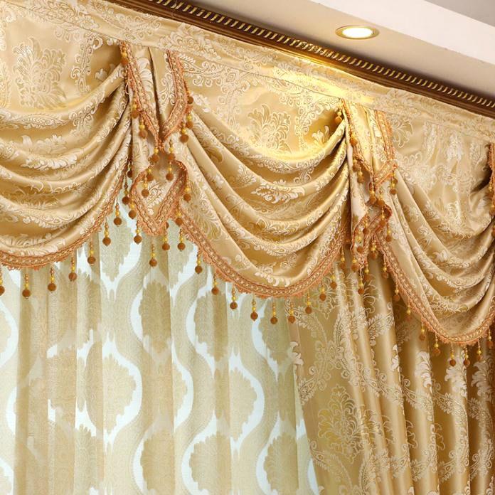 Gold Floral Jacquard Polyester Luxury Damask Curtains For Living Room Curtains Living Room Curtains Damask Curtains