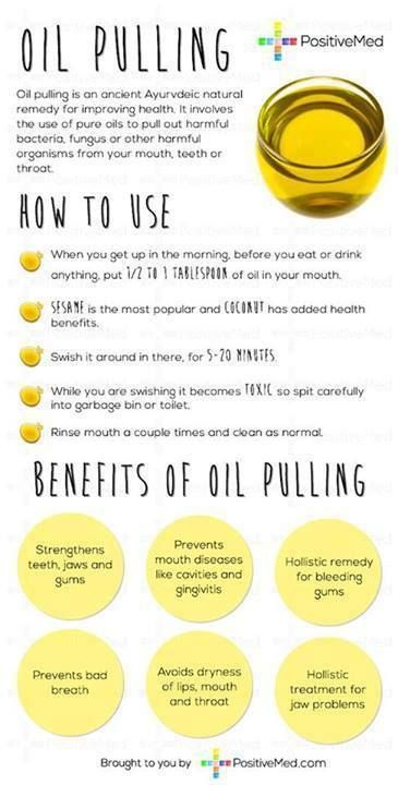 Oil pulling -- I use coconut oil. I started one month before dental checkup and dentist and hygienist both asked what I was doing differently. My teeth are whiter and NO MORE BLEEDING GUMS!