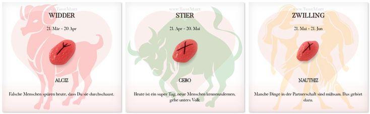 Runen Liebeshoroskop 3.1.2018 https://www.tarot3d.net/tagesrune/de/lovehoroscope  #liebeshoroskop #Sternzeichen #Runen #widder #stier #zwilling