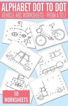 Vehicle Dot to Dot Alphabet Worksheets