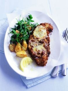 Easy cheesy veal schnitzel recipe: http://www.donnahay.com.au/recipes/mains/meat/cheesy-veal-schnitzel