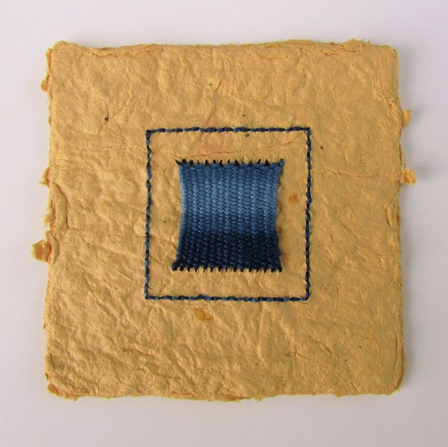 Mini Weaving on Handmade Paper by BooDilly's Victoria Gertenbach