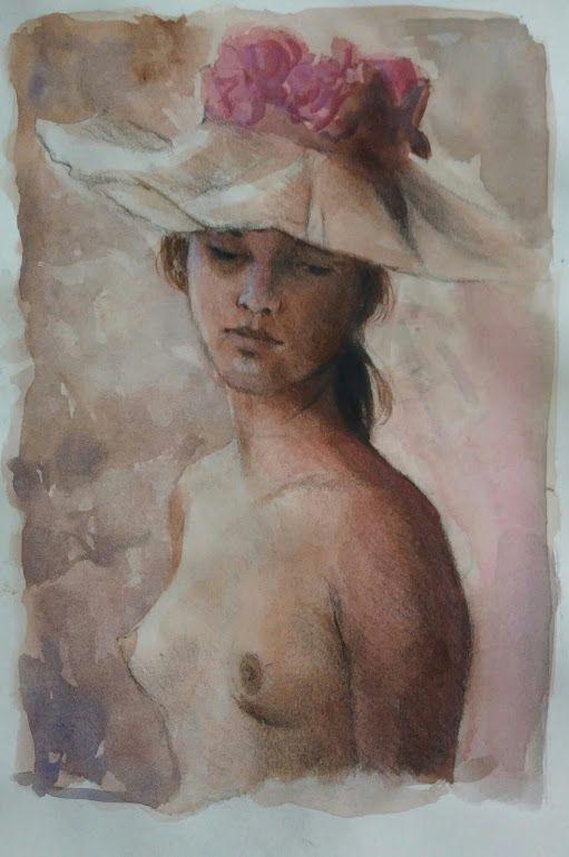 Fanciulla con cappello carboncino e acquerello .  Alfonso