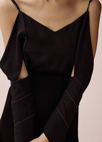 C¨¦line Look 22 / Fall 2015 TOP IN BLACK SILK CREPE BACK SATIN ...