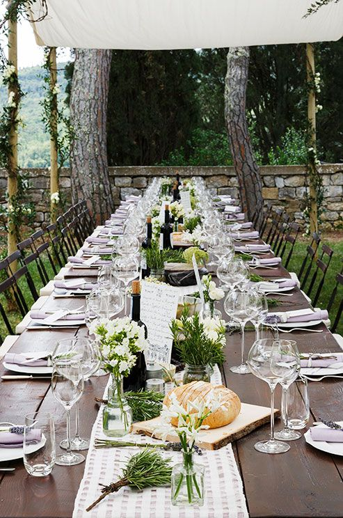 Vary your table decor for a more dynamic feel. Consider using herbs for an outdoor wedding. #WeddingCenterpieces