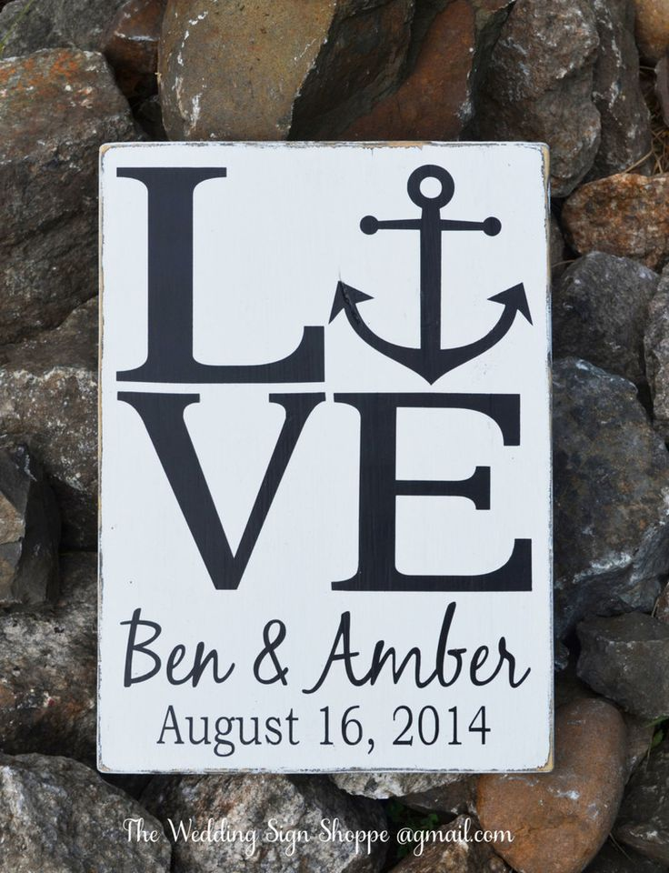 Beach Wedding Sign Personalized Beach Wedding Gift Nautical Anchor Anchors Theme Signs Decorations Love Outdoor Lake Rustic Wooden Signs