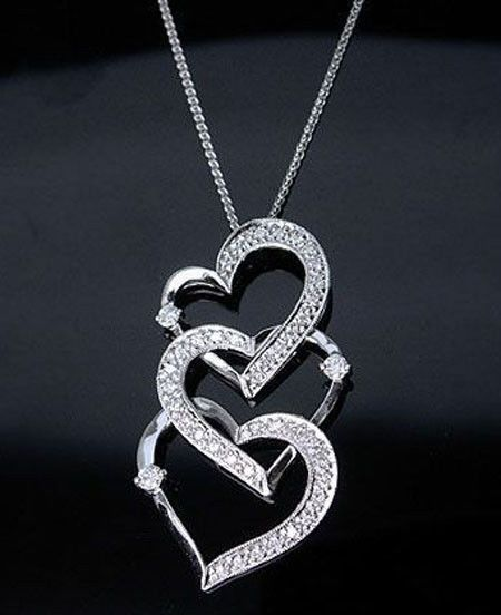Three Interlock Heart Round Pendant Necklace 925 Sterling silver Valentine Day** #NIKI #Pendant