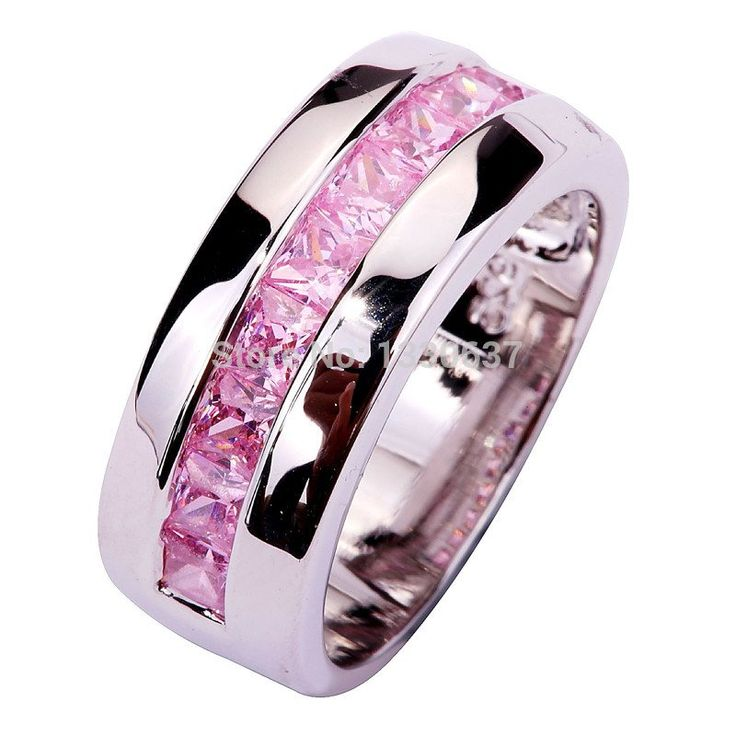 Wholesale Exquisite Saucy Emerald Cut Pink Topaz 925 Silver Ring Size 7  9 10 Jewelry Gifts - V-Shop
