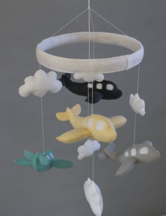 Baby Crib Mobile- Airplane Baby Mobile- Grey, Yellow, and Blue Airplane Mobile (Pick Your Colors) on Etsy, $85.00