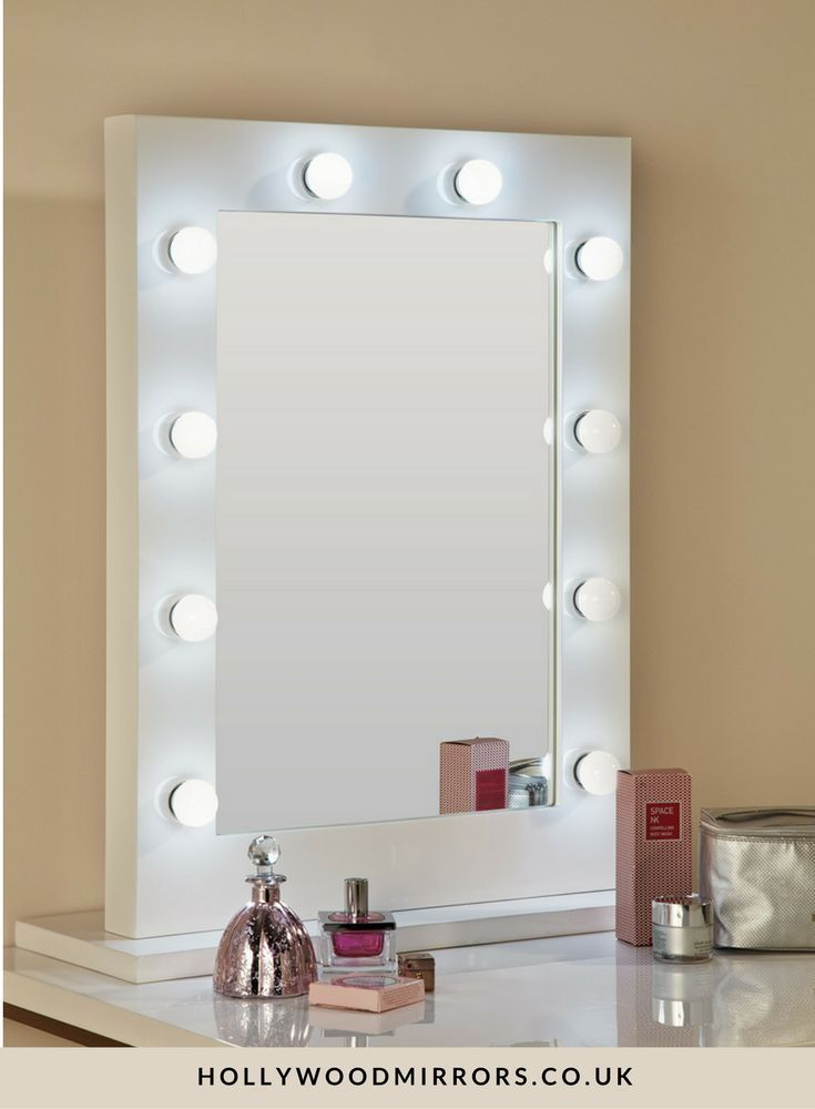 Hollywood Mirror In White Gloss | Makeup Mirror With Lights | Dressing  Table Mirror With Lights