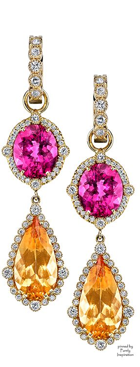 Erica Courtney Presley Earrings (Yellow gold, Topaz, Rubellite, Diamonds) | Purely Inspiration