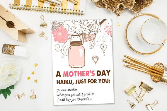 Mother's Day Cards / Funny Mother's Day Card / Haiku / Naughty Card, I Will Buy You Depends / Mothers Day / Printed Card