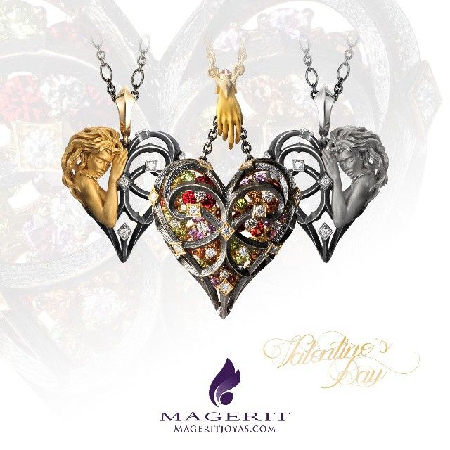 Celebrate with us this #ValentinesDay #Necklaces from #Versailles #Collection #heart #love #gift #jewelry #Magerit #MageritJoyas