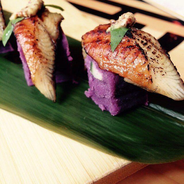 Unagi sushi. Okinawa purple potato causa, wasabi, hot mustard. @chinachilcano by @chefjoseandres Absolutely loved the fusion of unagi and purple yam! - by cfongluy
