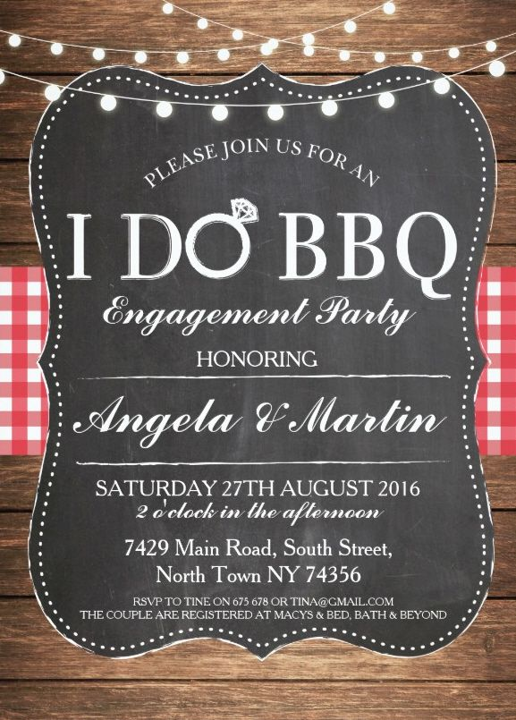 I do BBQ engagement party invitation - I DO invitations. Features brown wood frame, chalkboard background and string lights. Amazing BBQ party invitation! More at http://superdazzle.com