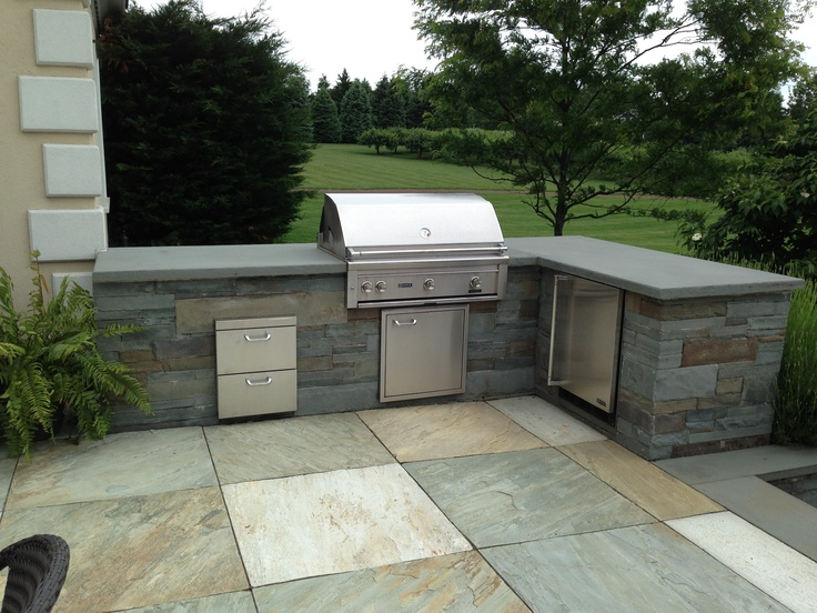 Custom Bluestone BBQ enclosure and countertop with a Norwegian ...