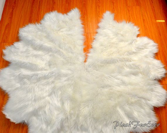 Faux Fur Tree Skirt Christmas Tree Decor White Sheepskin Faux Fur Luxurious Decor Gifts