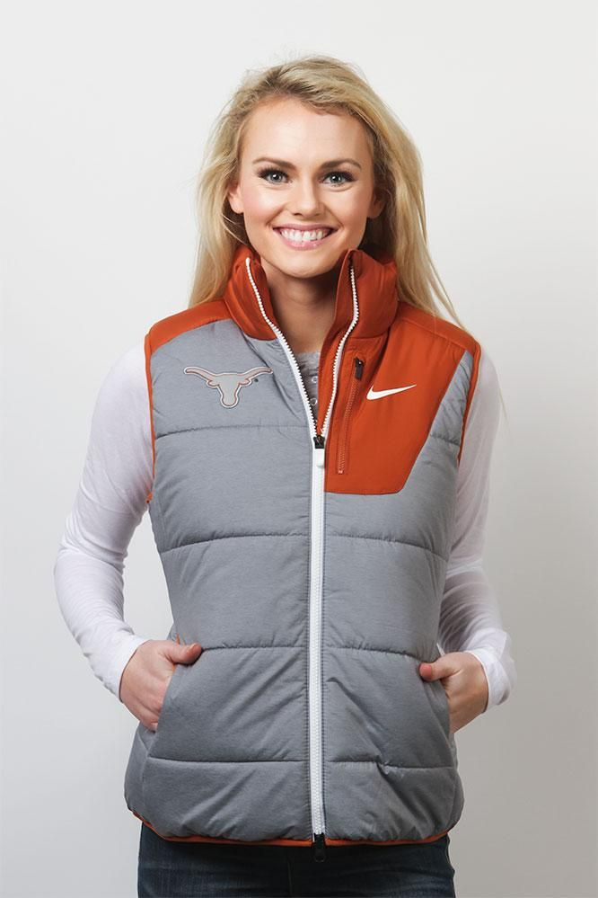 Sport your Texas pride while staying warm with the Nike Ladies Longhorn Champion Drive Vest! A great outerwear choice for those chilly Game Days! Buy now!