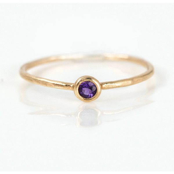 Amethyst Ring 14k Gold Purple Amethyst stone in a solid 14k Gold Bezel... ($138) ❤ liked on Polyvore
