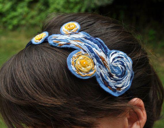 Van Gogh Starry Night Felt Headband by RuthCreates on Etsy