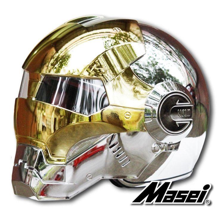 Masei Gold/Silver Chrome 610 Atomic-Man Motorcycle Harley Chopper DOT Helmet Free Shipping Worldwide