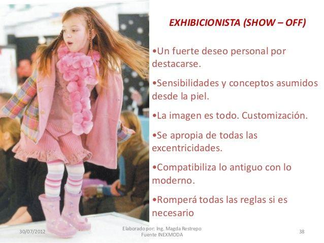 EXHIBICIONISTA (SHOW – OFF) •Un fuerte deseo personal por destacarse. •Sensibilidades y conceptos asumidos desde la piel. ...