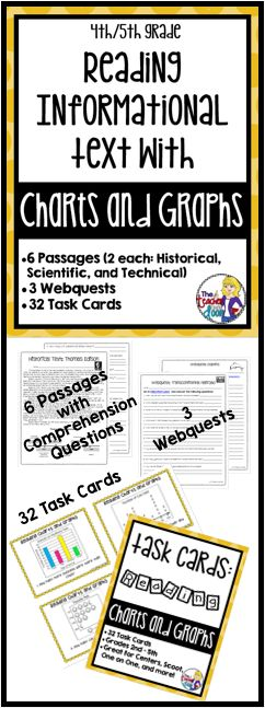 Reading Informational Text with Graphs and Charts targets one of the key elements of Common Core, which is reading nonfiction text. This 43 page packet is loaded with 6 reading passages including 2 historical, 2 scientific and 2 technical pieces along with diagrams, timelines, flow charts and graphs to go with each. It also has a set of 32 task cards with different types of graphs, as well as three webquests, to give your students the practice they need in a variety of formats. (TpT…