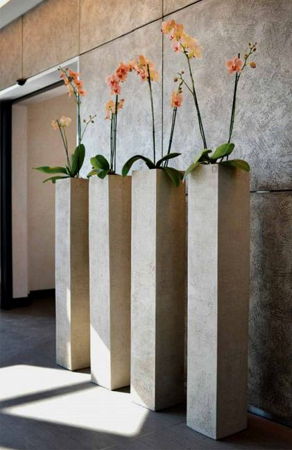 for the modern contemporary home: orchids in four tall planters by Atelier Vierkant