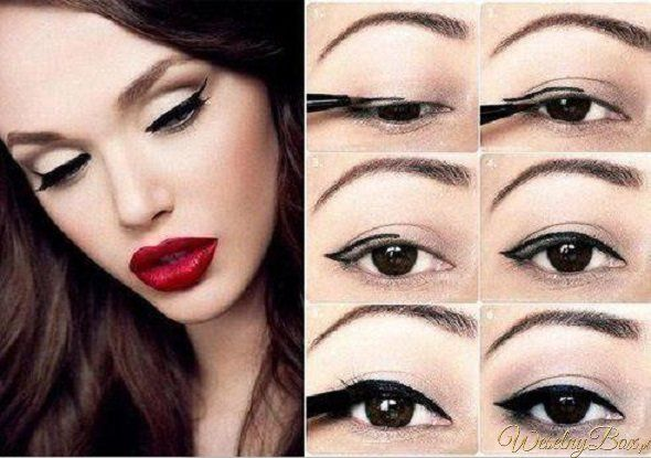 Zrób kreskę i pomaluj usta na czerwono, Twój wieczorowy make-up...