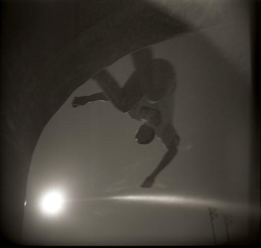 Skateboarding image created using a Holga film camera
