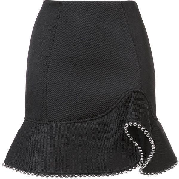 Alexander Wang studded trim ruffled skirt ($645) ❤ liked on Polyvore featuring skirts, mini skirts, black, alexander wang, fitted mini skirt, short ruffle skirt, short mini skirts and frilly skirt