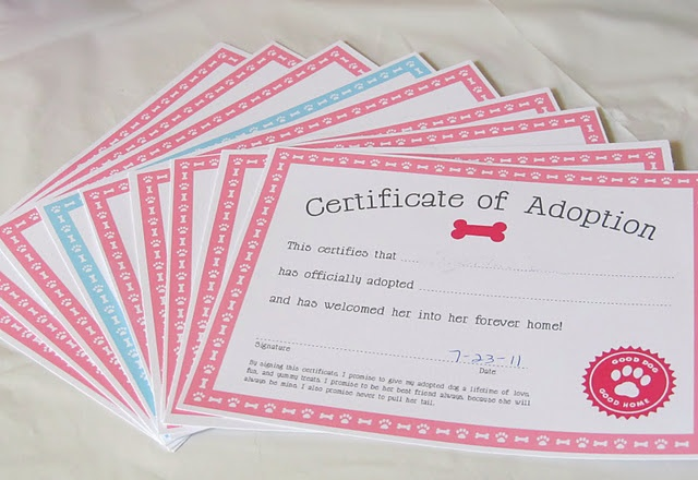 Adoption certificate for dog-themed birthday party
