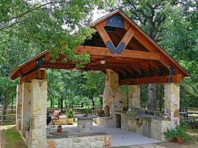 Want An Open Stone Entertaining Pavilion Next To Pool With Fireplace Outdoor Kitchen
