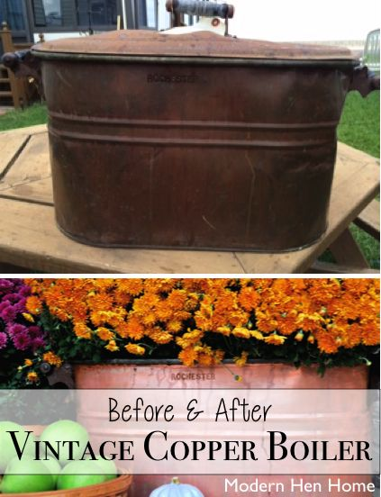 Rusty Vintage Copper Boiler Comes to Life -- See the before and after at ModernHenHome.com
