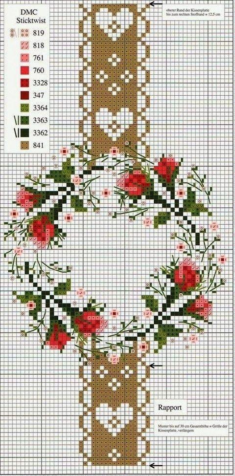 truques coração bonito: Ponto de Cruz: Rosas em estilo ...