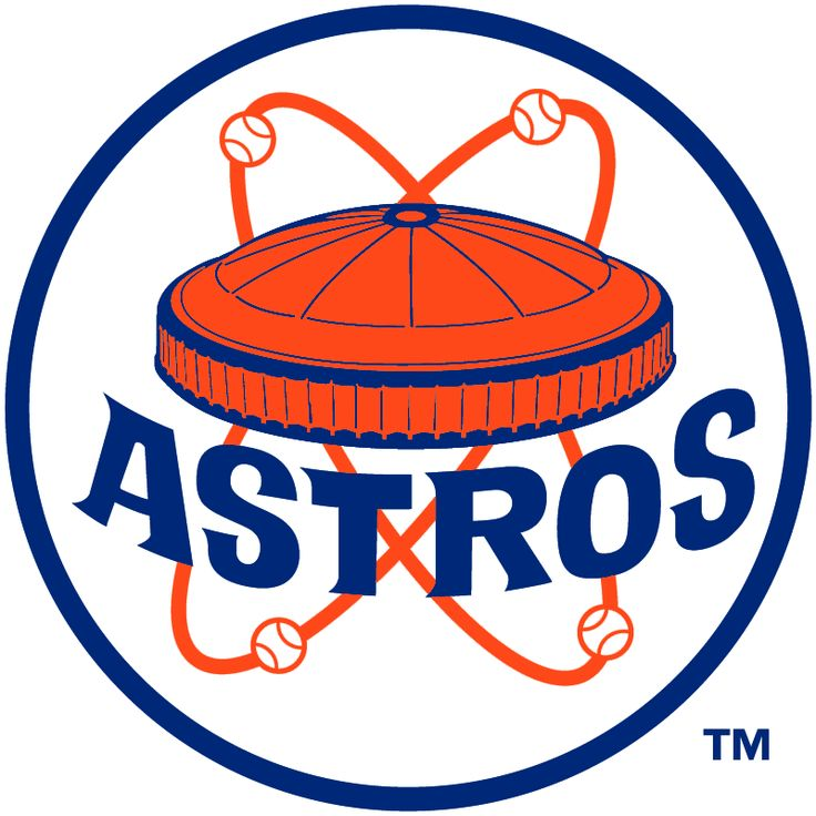 Houston Astros Alternate Logo (1972) - Orange and blue Astrodome stadium with baseballs orbiting around it, ASTROS arched below in blue in a blue and white circle. Worn on sleeve of Houston Astros road jersey during 1972 season only