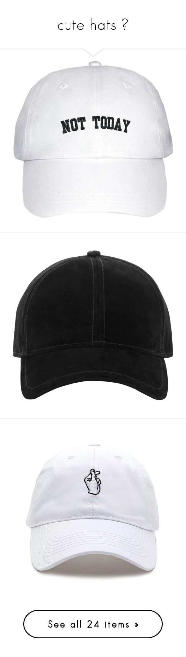 """""""cute hats """" by sannannanna ❤ liked on Polyvore featuring accessories, hats, caps, acc, black, baseball hats, suede cap, ball cap hats, suede baseball caps and suede baseball hats"""