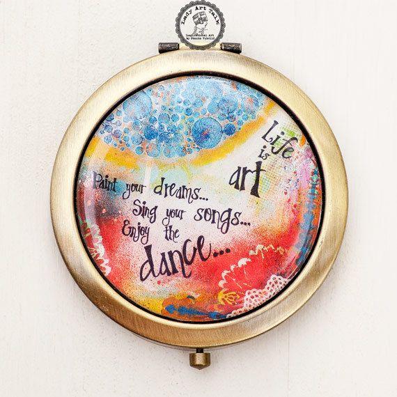 Bridesmaid Compact Mirror - Compact Mirror Favor - Mixed Media Art - Purse Mirror - Inspirational Art - Quote Art - Bridesmaid Gifts