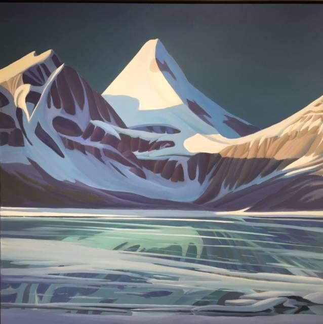 Ken Harrison - Mount Assiniboine on Ice 36 x 36 Oil on canvas