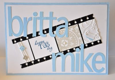 Wedding card in white and blue - Stampin' UP, Medallion, Elegant Lines and Word Play