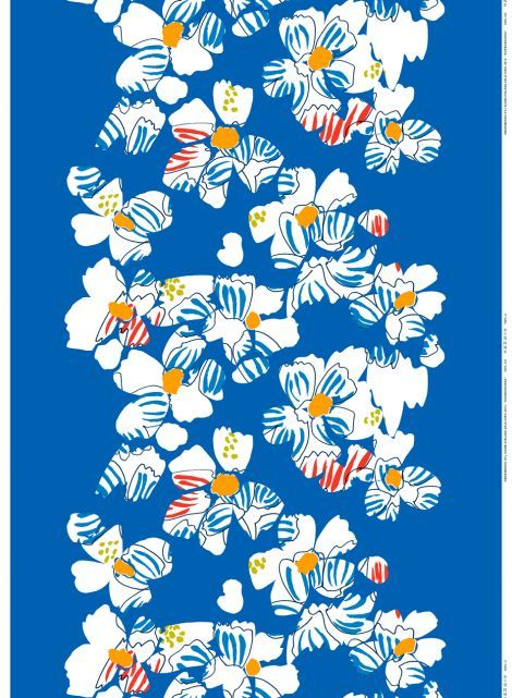Kosmoskukka-puuvilla (sininen, sininen, punainen) |Kankaat, Puuvillakankaat | Marimekko