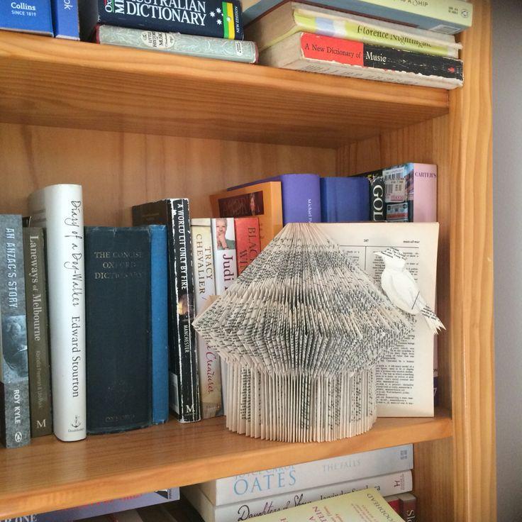 Mum's folded book birdhouse and my little bird.