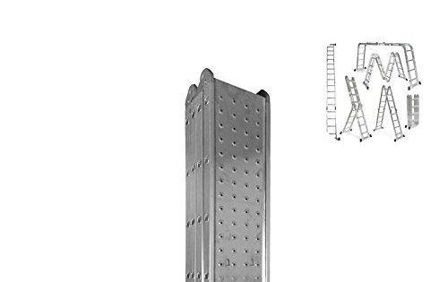 WORHAN® 4.6m Échelle Aluminium Multifonction avec 2 Plates-formes d'acier Polyvalente Escabeau Échafaudage Multi-usage ALU Modulable…