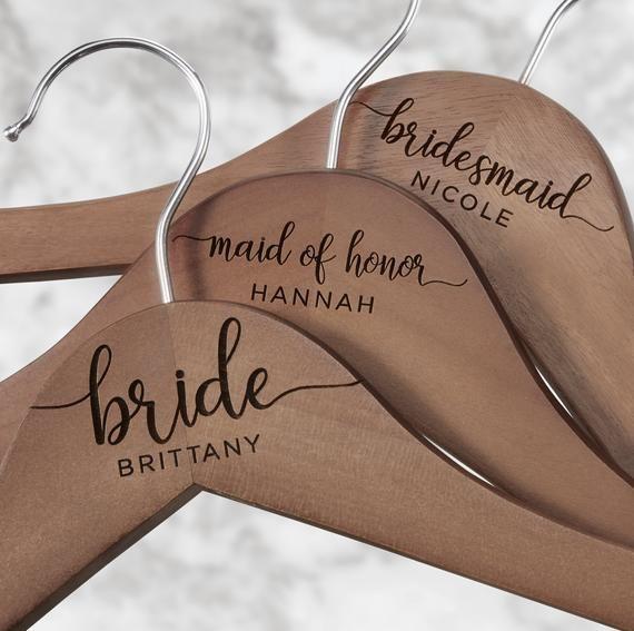 Weddings Bride Hanger Custom Bridal Hanger Personalized Hangers Wood Hangers Wedding Hanger Wedding Name Hangers Bridesmaid Hangers