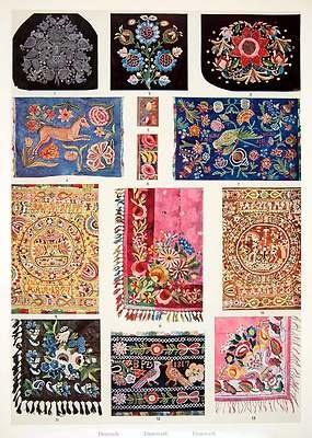 1953 Color Print Denmark Danish Embroidery Bonnets Handkerchiefs Blankets Decor