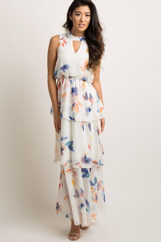 d6edda413e2c Ivory Floral Cutout Layered Ruffle Trim Maternity Maxi Dress in 2019 ...